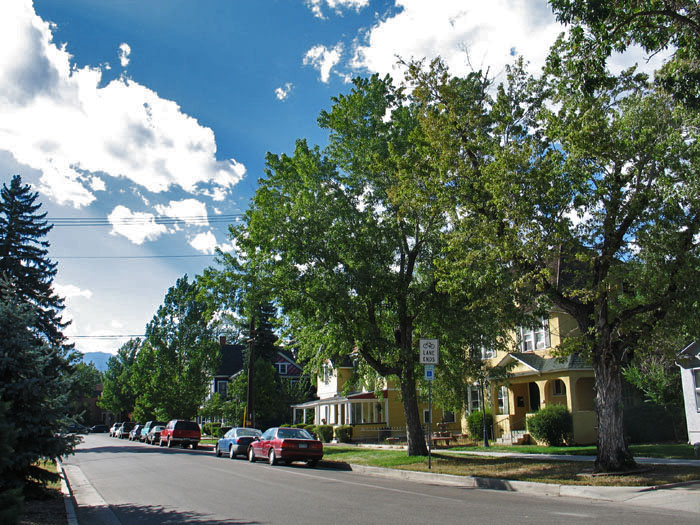 Pretty residential street in downtown Colorado Springs