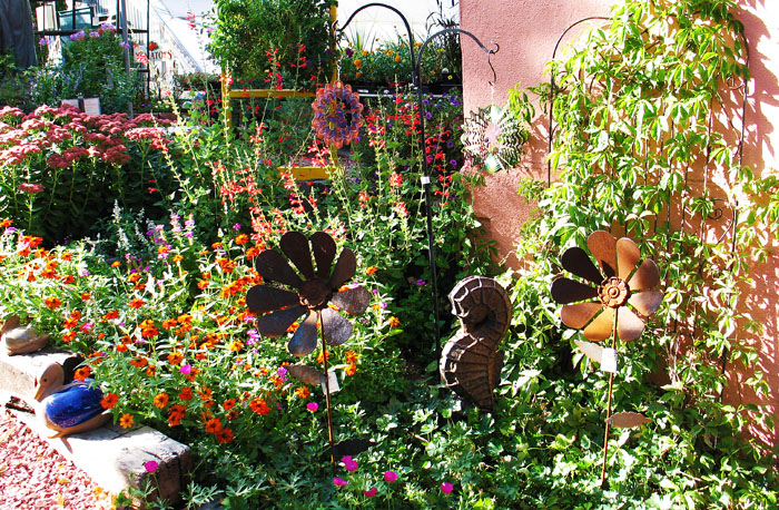 Slightly north of downtown is the well-stocked nursery, The Good Earth Garden Center. Click this pic for their website.