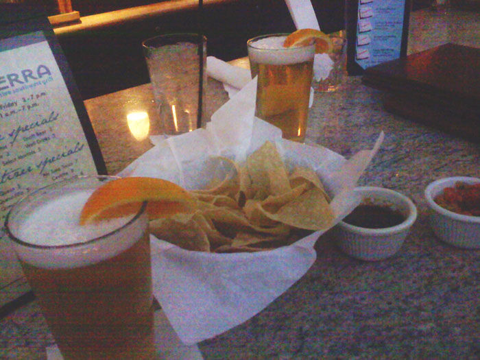 They have a few really good happy hour food items, including free chips and salsa.