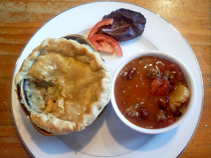 Pot pie and chili from Montegue's Parlour