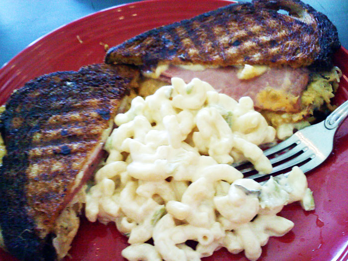 Reuben sandwich and pasta salad from Lofty's