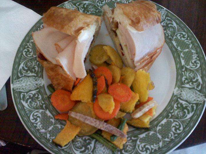 Delicious turkey on croissant at Montague's Parlour
