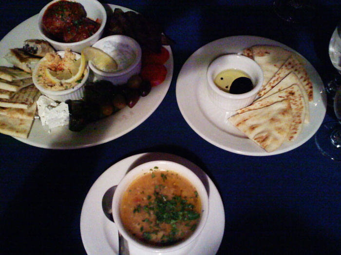 Soup and appetizers at Jake and Telly's
