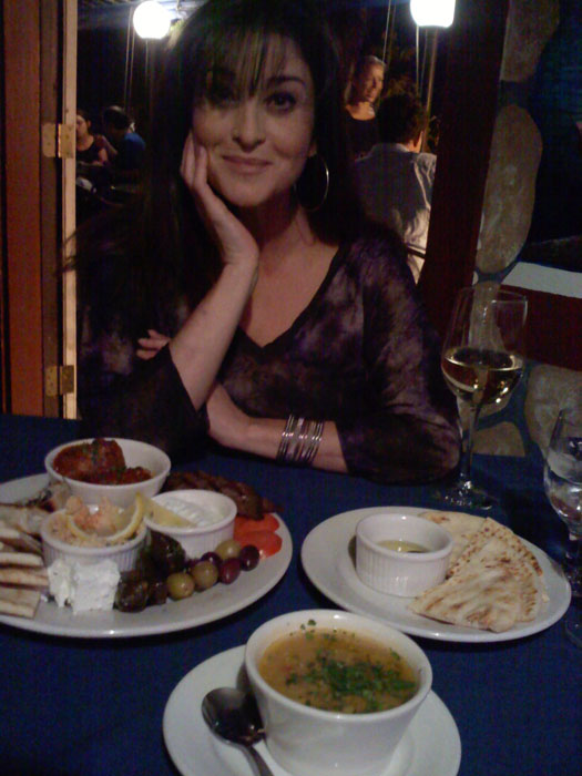 Janel enjoying some apps at Jake and Telly's