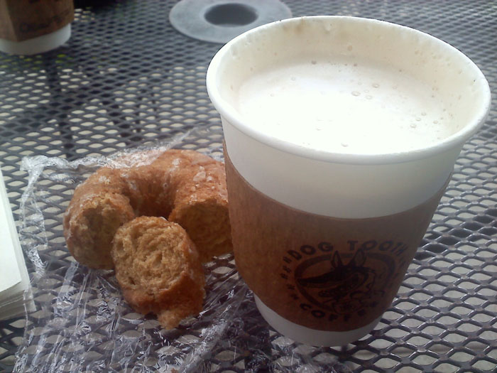 Cafe latte and cinnamon donut from Dogtooth Coffee Company