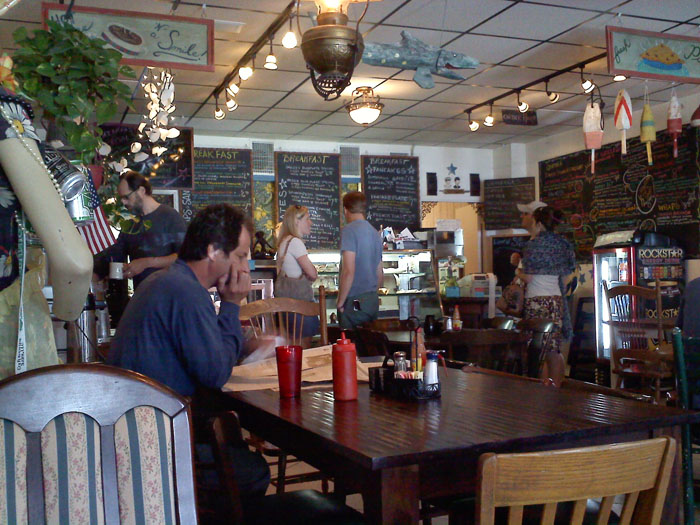 Smiley's cute decor. They've recently expanded to the space next door, doubling their size- shorter lines now!