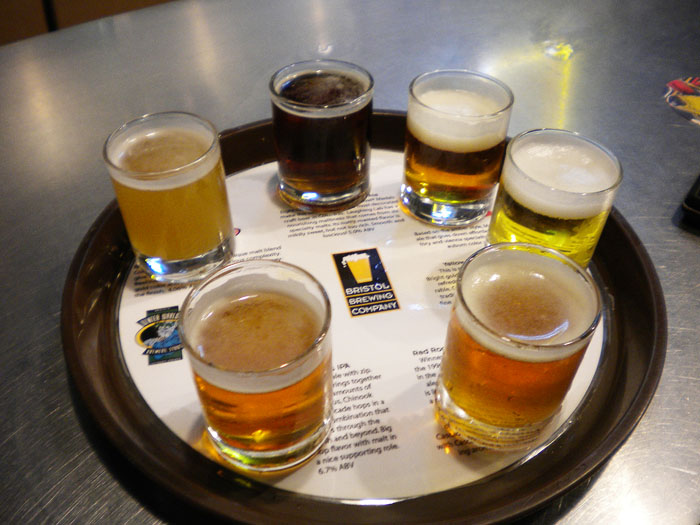 Beer flight at Bristol Brewing.