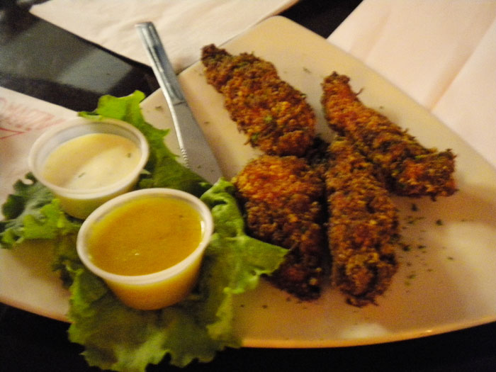 Happy hour coconut chicken fingers- these are really really good!