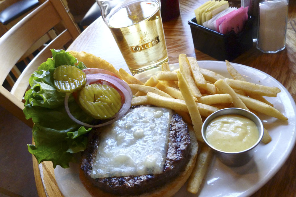 Cheeseburger and cider at McCabe's Tavern