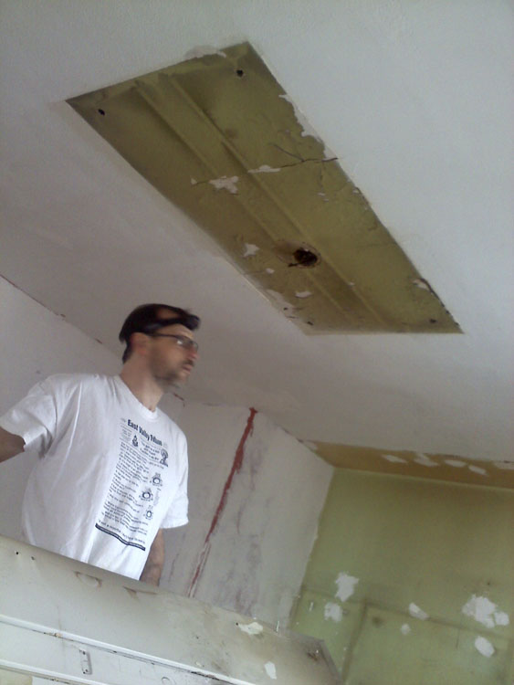 As much as the soffit menaced Mike, the hideous flourescent fixture menaced me. Hurrah! It's gone!