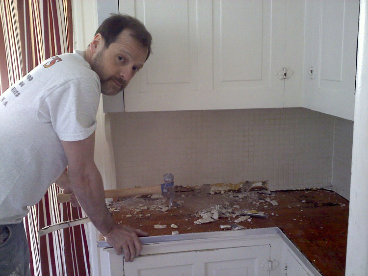 Mike showing that lame mosaic tile who's boss.