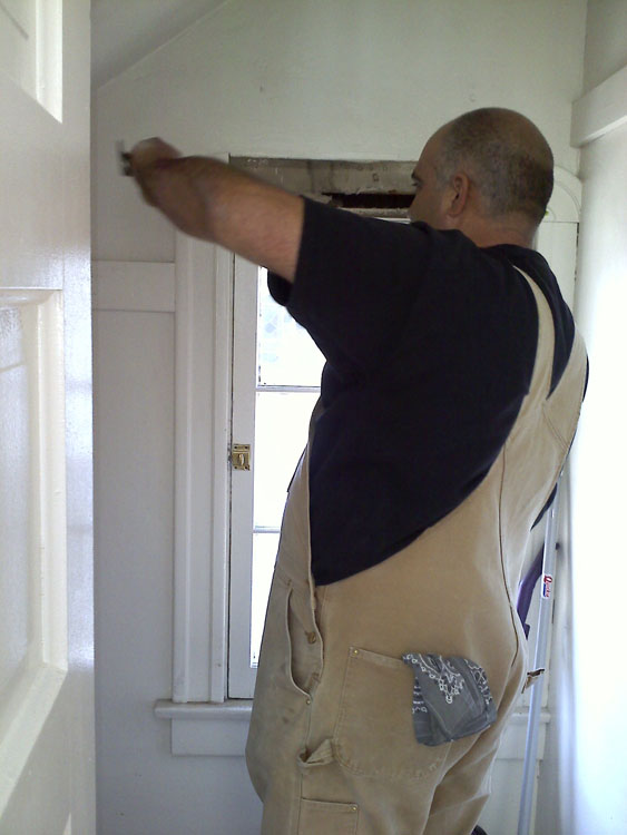 Salvaging the trim molding from a closet window to use in the kitchen