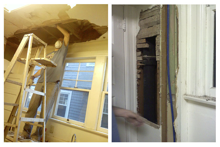 In order to save money, Mike evened out the jaggedy holes so the drywall guy could just do a quick and dirty job to satisfy the bank.