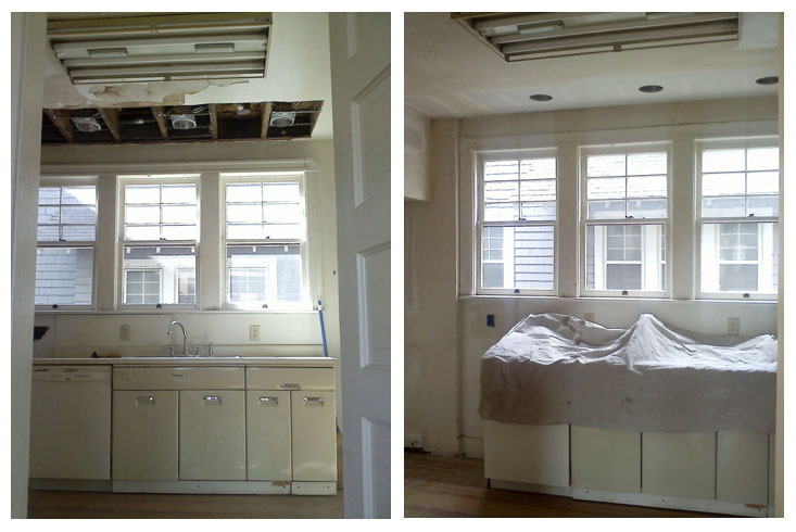While we had the ceiling open, we had an electrician come in and add some recessed lighting above the sink