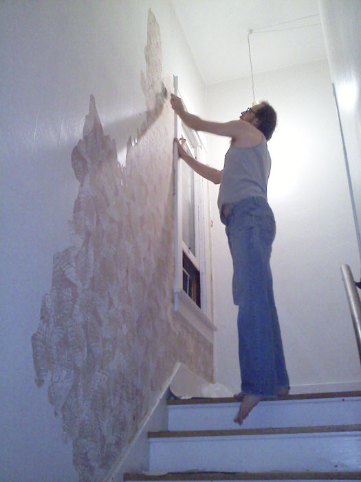 One night, after a couple of drinks, we started picking at the stairway wall and were excited to see this neat old Titanic era wallpaper. So we continued picking and peeling till it was no longer fun. It stayed in this state for months.