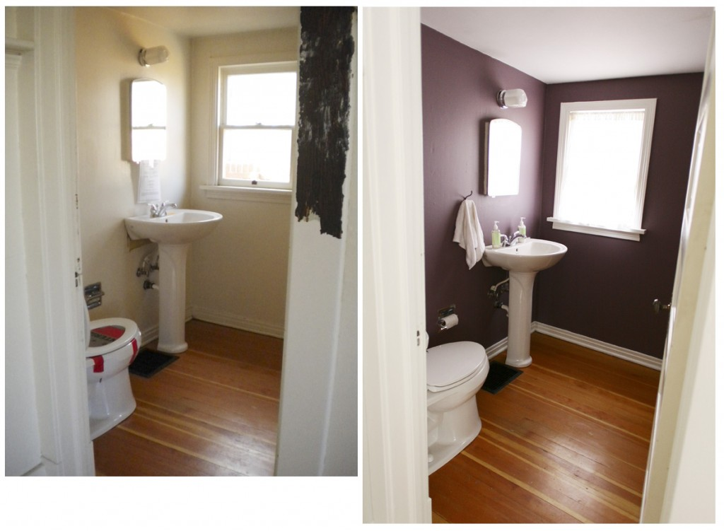 Powder room before and after. Benjamin Moore Aura Bonne Nuit