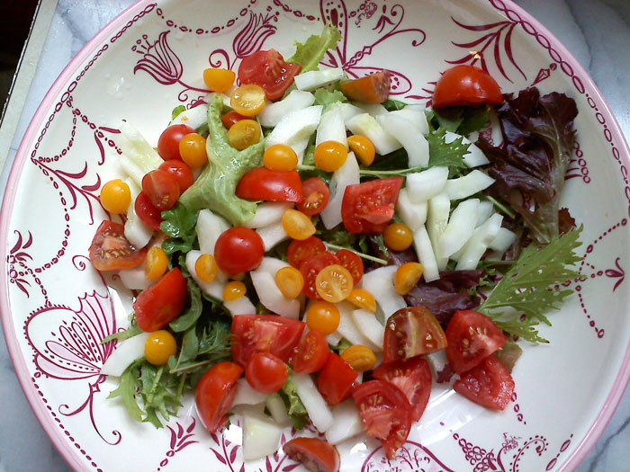 Salad with home grown lettuce, cherry and grape tomatoes, and cucumbers.