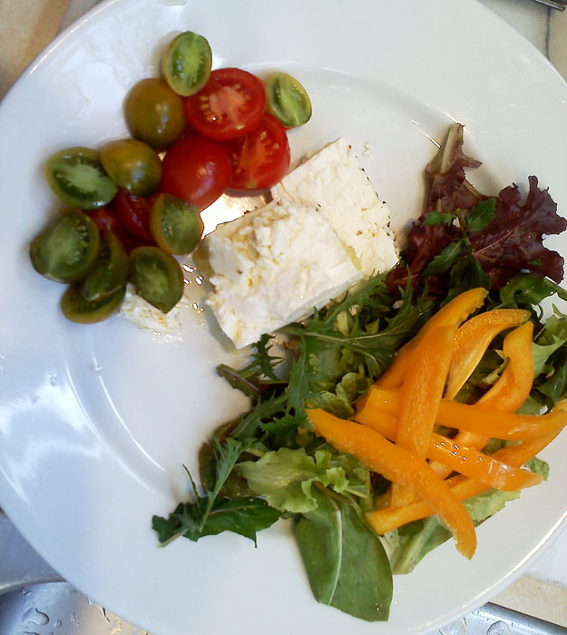 Home grown cherry tomatoes, feta with olive oil and herbs, and bell peppers with lettuce.