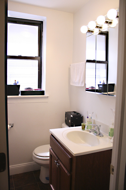 Renovated bathroom in our Lincoln Park sublet.
