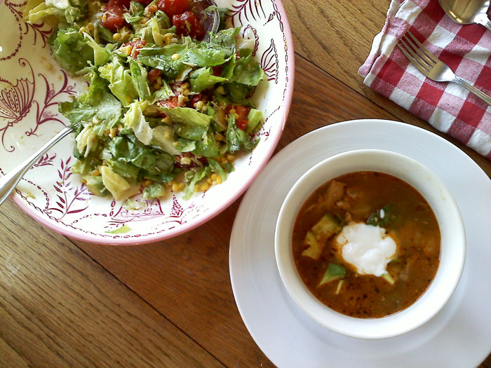 A big green salad and some chicken posole