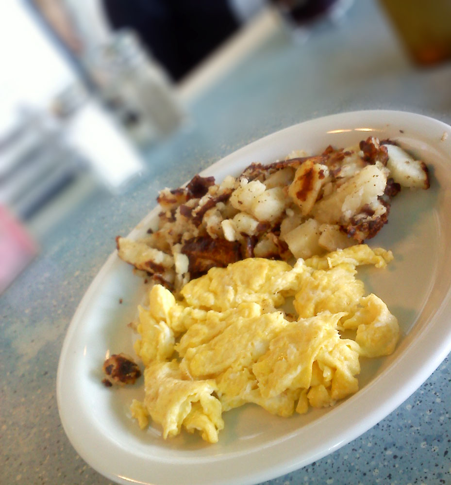 Scrambled eggs and potatoes from Rae's in Santa Monica