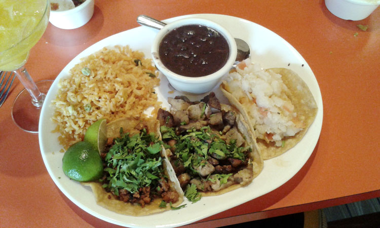 Soft taco plate with three different tacos at El Cid 2, Chicago