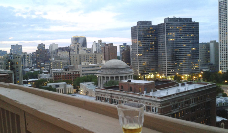 The roof deck is a nice place to have a drink.