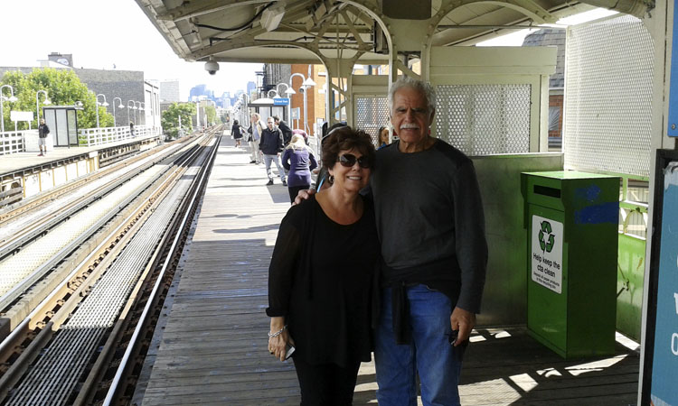 Mom and dad on the El platform.