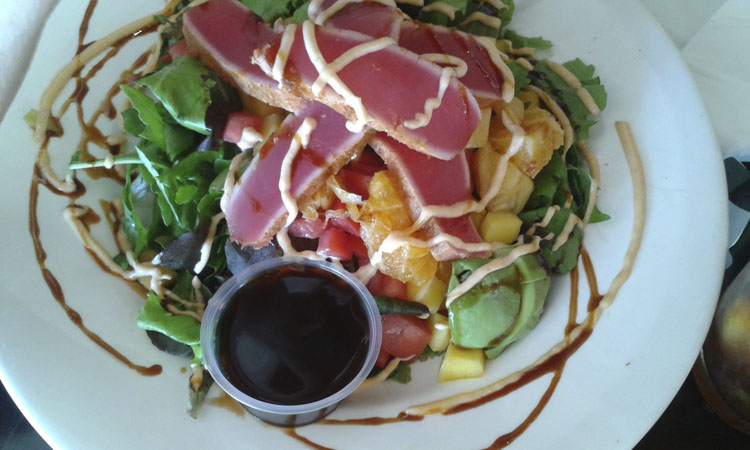 Mom always has the ahi salad!
