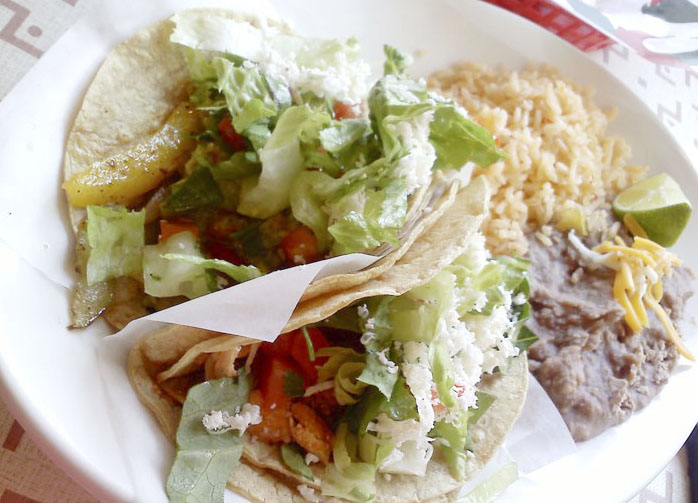 A taco plate from Azteca De Oro, Lakeview, Chicago