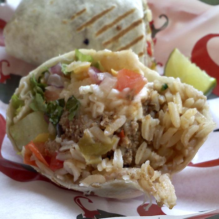 Tasty burrito from Azteca De Oro