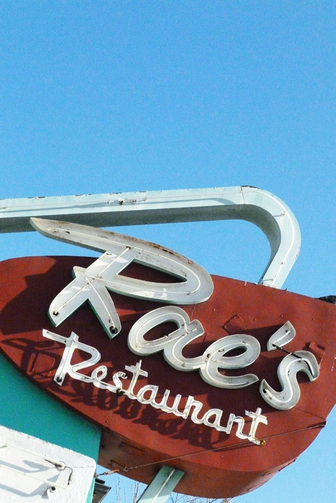 Rae's Restaurant's vintage sign.