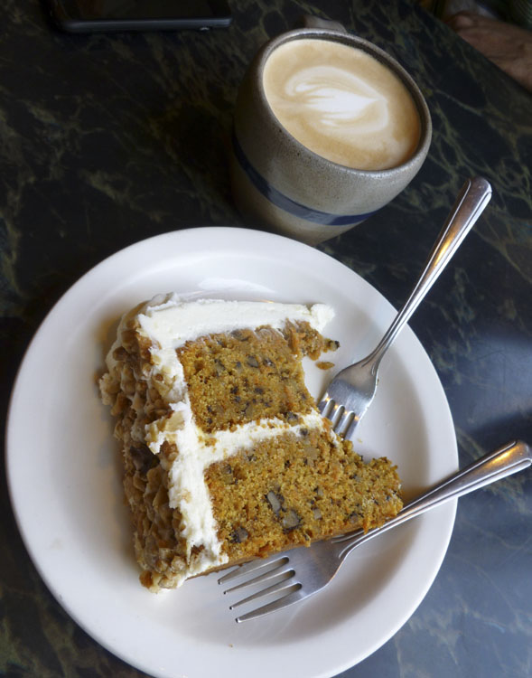 Cafe latte and decadent carrot cake at Bourgeois Pig Cafe, Chicago