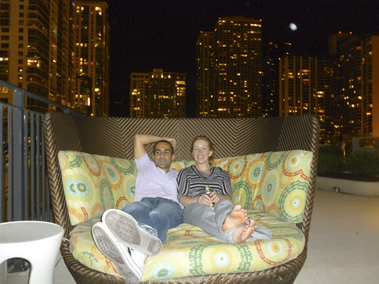 David and Sarah relaxing outside at The Aqua.