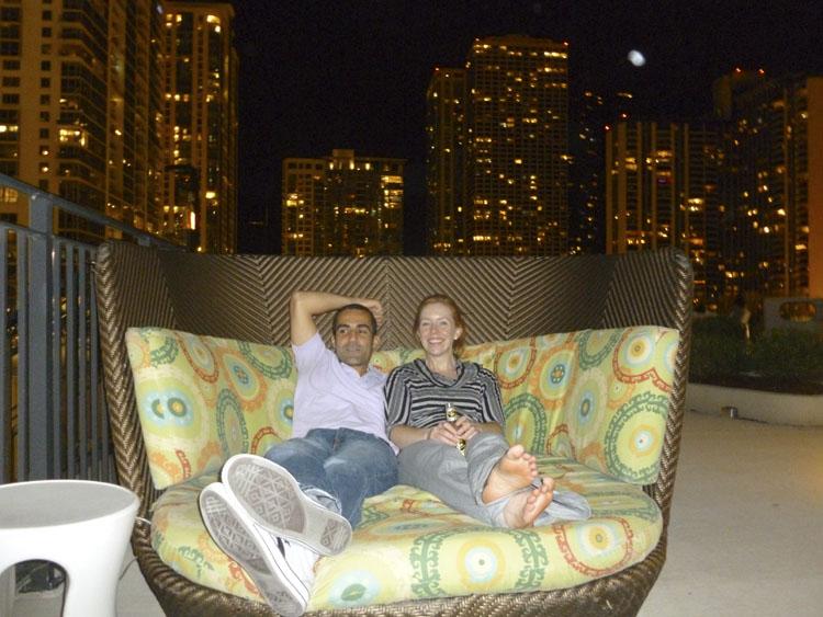 David and Sarah relaxing outside at The Aqua.