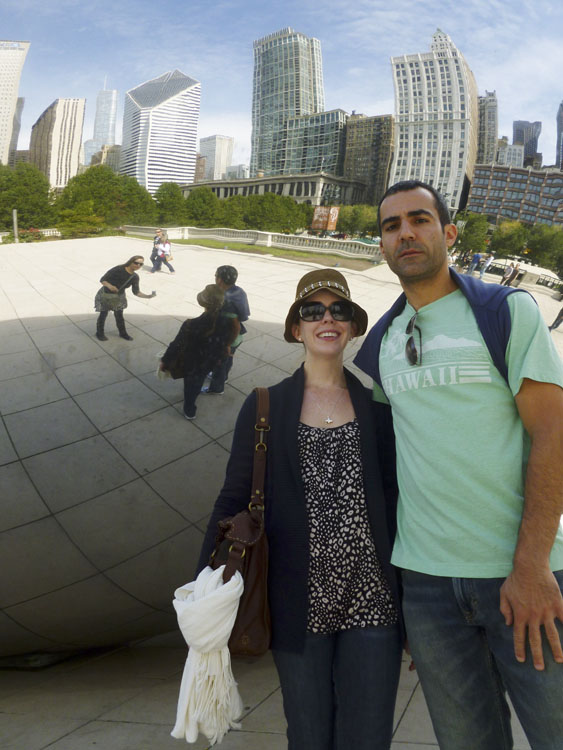 "Sarah and Dave at ""The Bean""."