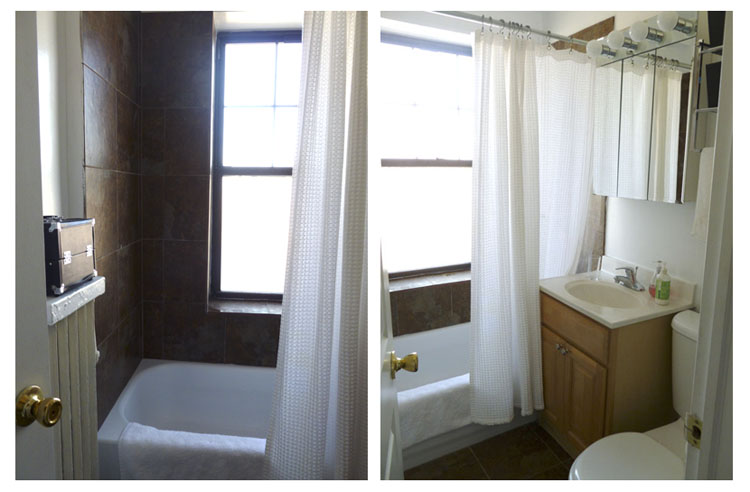 I like to keep the bathroom neutral and simple with white towels and shower curtain.