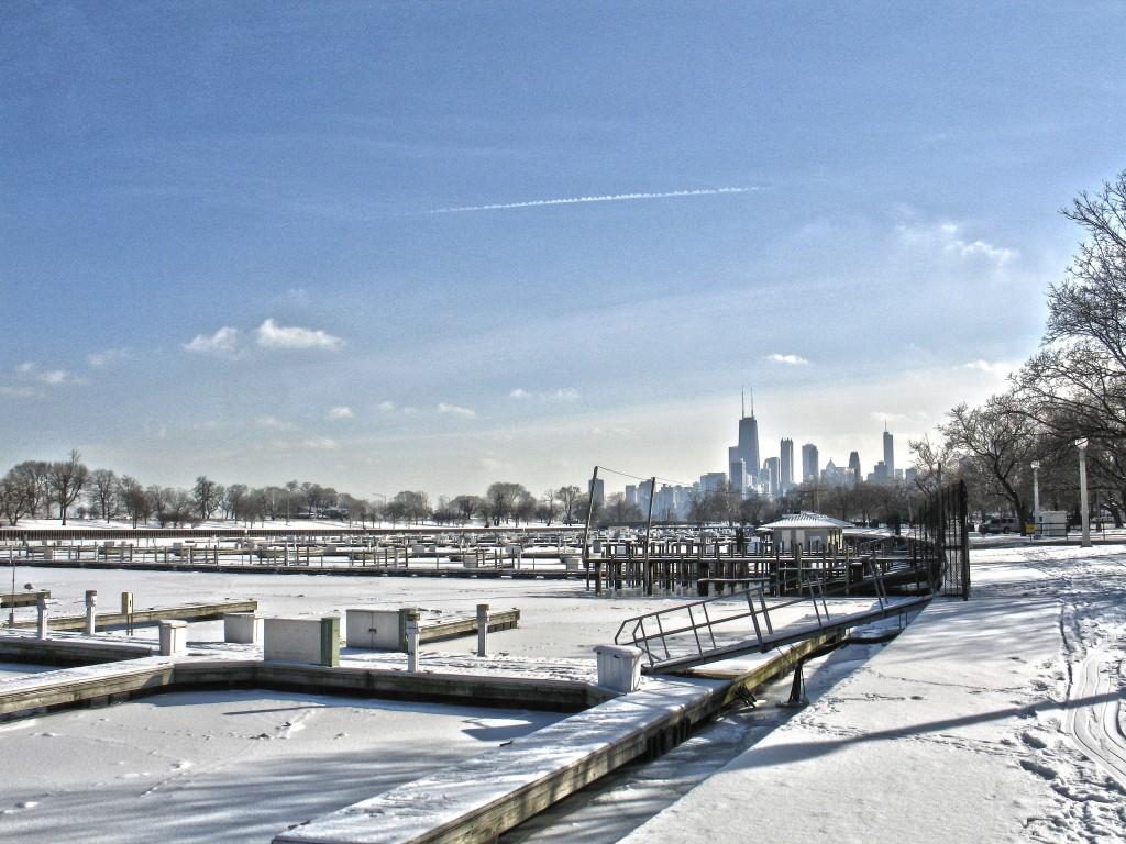 Diversey harbor in winter