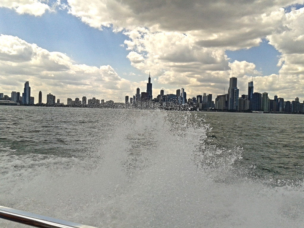 Splashing speedboat on Lake Michigan, Chicago