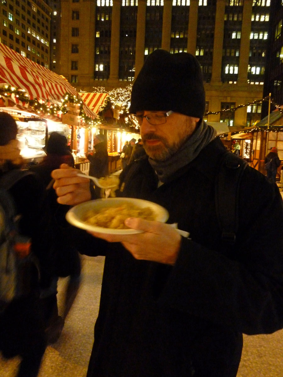 Authentic German food is available at the Christkindlmarket in Chicago
