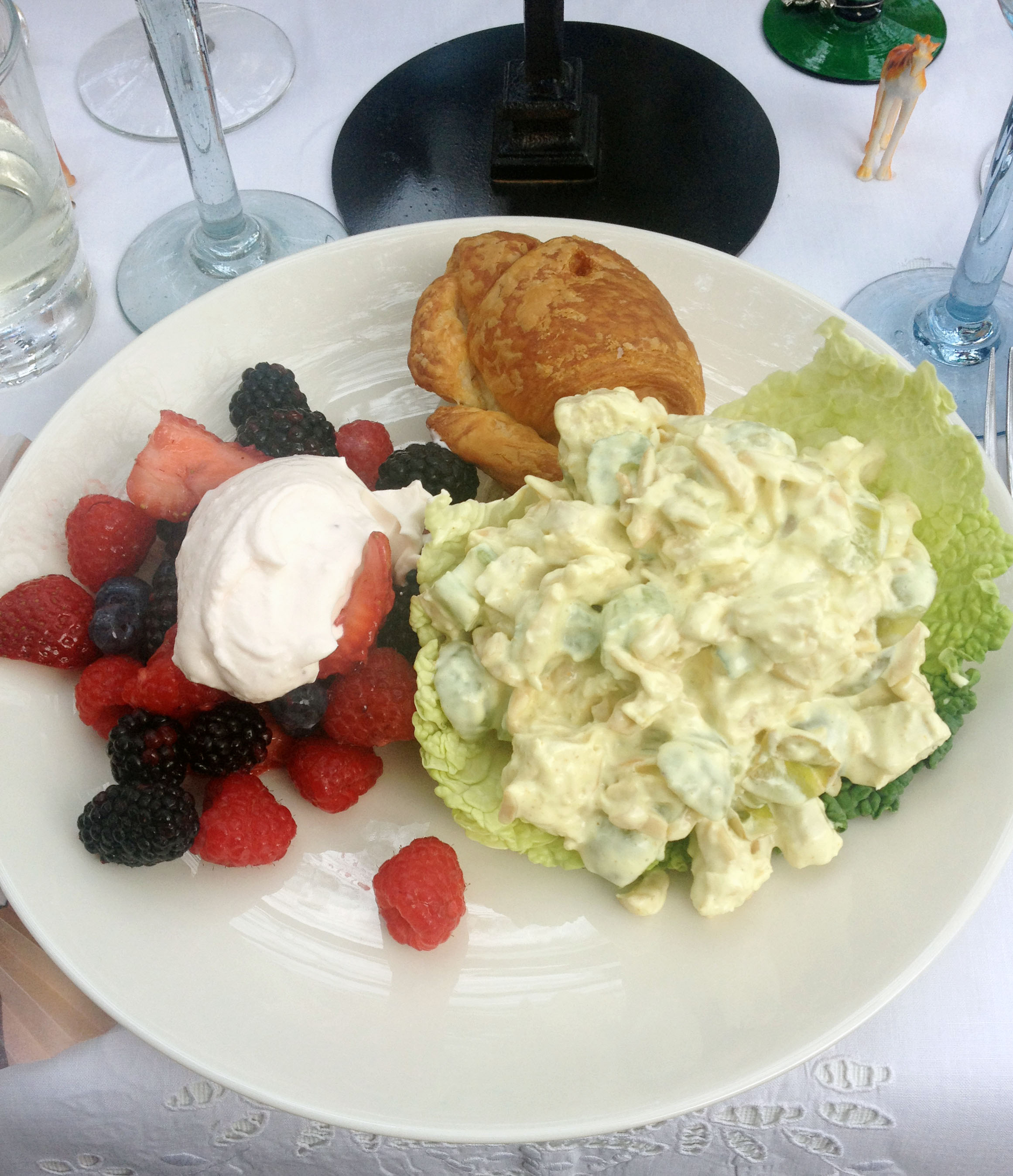 Curry Chicken Salad, croissants, and fresh summer berries